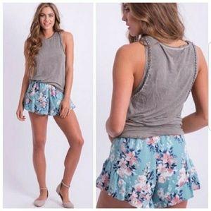 Pants - Blue Floral Shorts